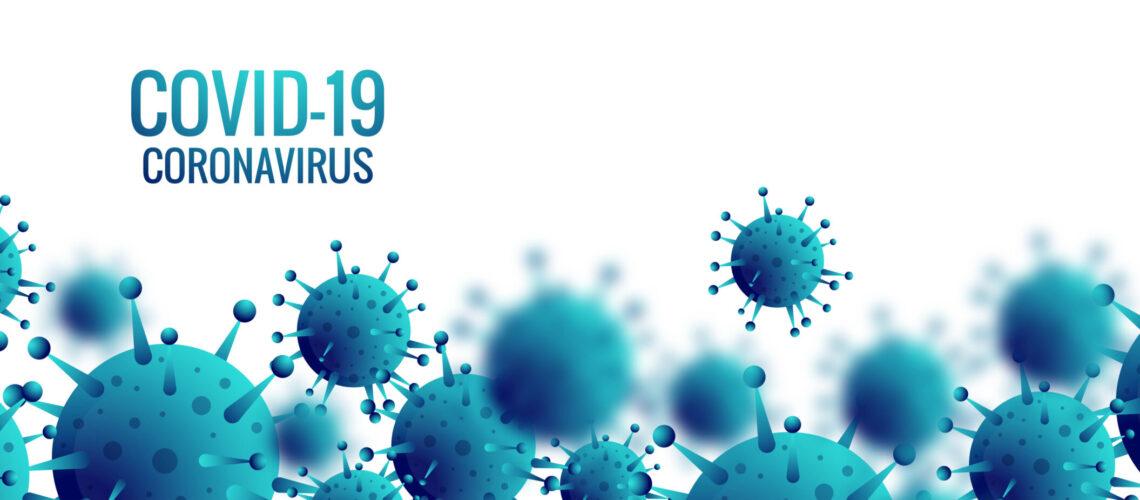 Coronavirus microbe cells in infected covid-19 banner design